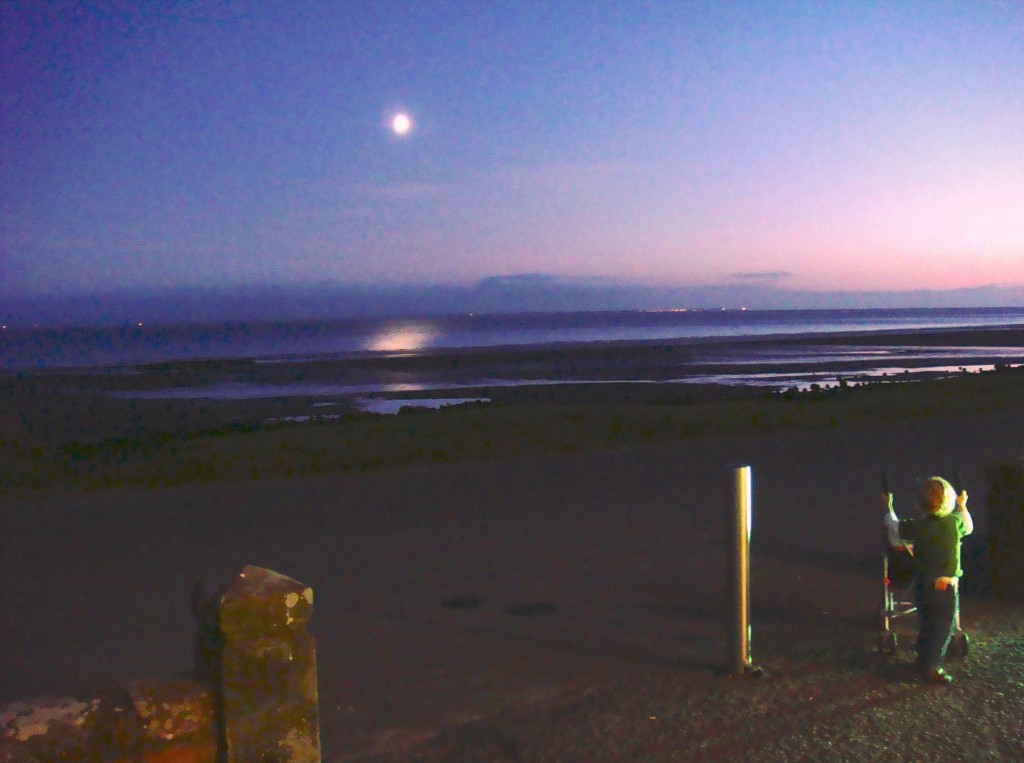 Moon over Solway Firth
